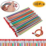 Etmact 40 Pack Striped Magic Pencil,Flexible Bendy Soft Pencils with Eraser,Colorful Bendable Pencil for Students and Children