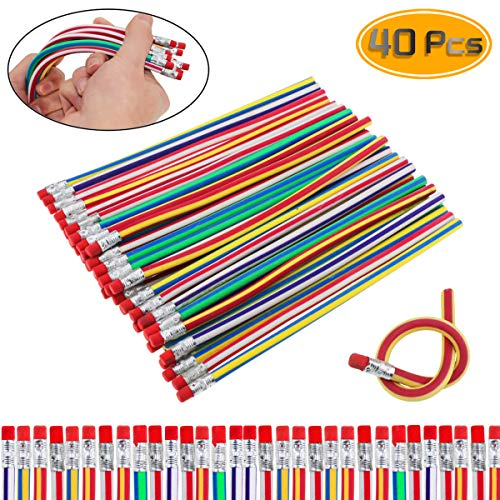 Etmact 40 Pack Striped Magic Pencil,Flexible Bendy Soft Pencils With Eraser,Colorful Bendable Pencil For Students And Children Pencils Erasers Bendy Pencils Bendable Pencil Flexible Pencils