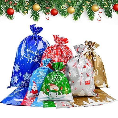 Czemo Sacchetti Regalo Natalizie Borse da Imballaggio Tratta Le Borse Goody Bags con Sacchetti Regalo Grandi per Decorazioni Natalizie Favore di Partito Confezione da 30