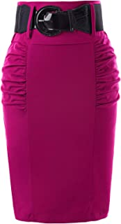 Women's Stretchy Pencil Skirt Side Pleated Business...