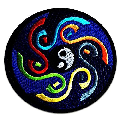 Aufnäher / Bügelbild - Yin Yang spirituell - blau - Ø8 cm - Patch Aufbügler Applikationen zum aufbügeln Applikation Patches Flicken