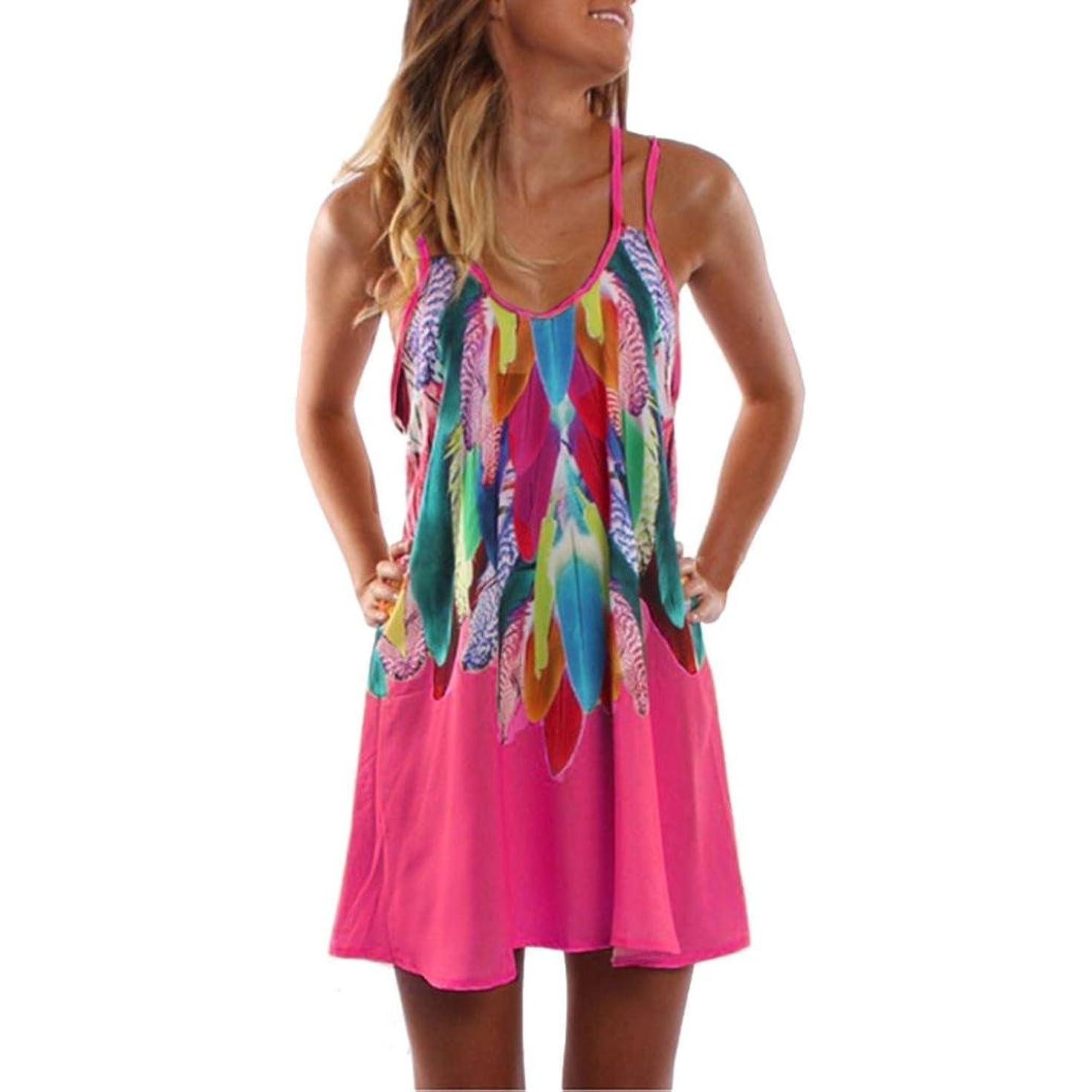 Teen Dress Skirts Colorful Printed Beach Sundress Women Summer Maxi Boho Dress (L, Hot Pink)