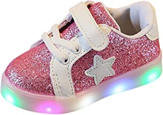 Sneakers Breathable Pure Color, Non-Slip Toddler with Lights for Kids, Children's Trainers Digital Shoes 70% Discount, FULLSUNNY