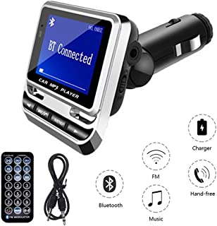 Paddsun Upgraded FM Transmitter, Bluetooth Wireless Radio Adapter Audio Receiver Stereo Music Tuner Modulator Car Kit with USB Charger, Remote Control,Supports Hands-Free Calling, AUX, TF Card Silver