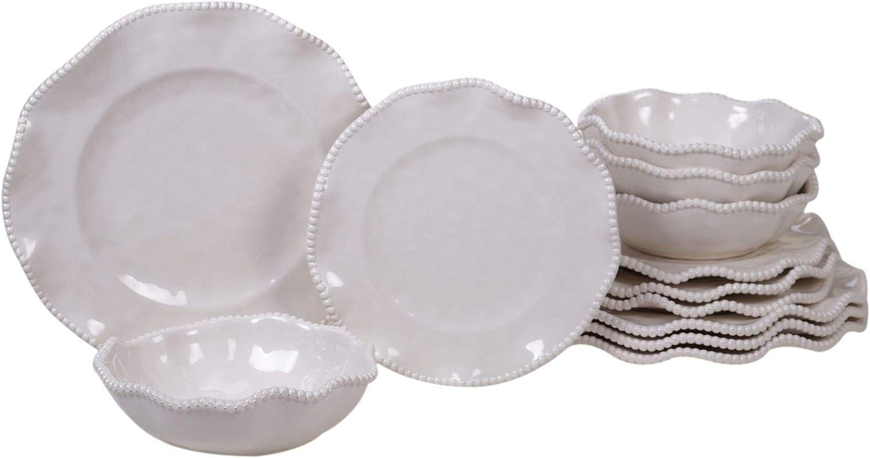 12pc Gray Outdoor Dinnerware Set Beaded Border Direct store with Miami Mall Rim Ruffled