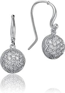 SE205 Sterling Silver Dew Drop Pavé Diamonds Earrings (0.80 cttw, H-I Color, I2-I3 Clarity)