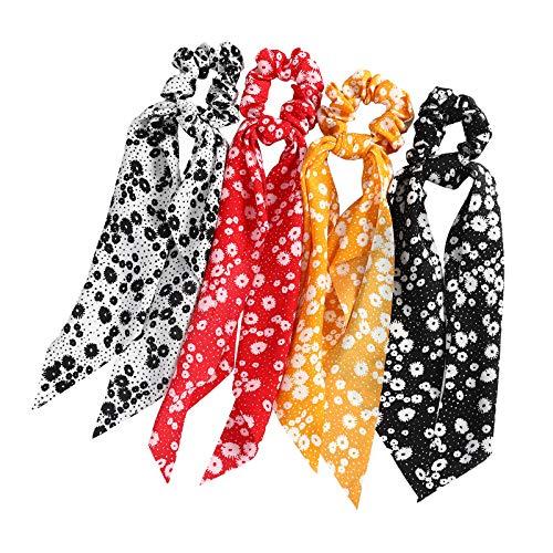 WELROG Bufandas scrunchies - 4PCS Peinados Bowknot Para Mujeres cabello Bobbles cola de caballo para niñas (Blanca/Roja/Amarilla/Negra)