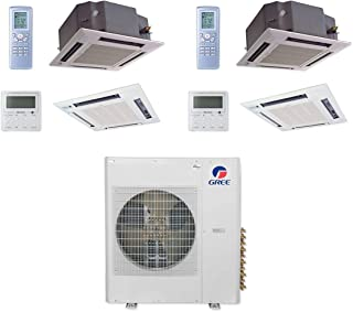 GREE MULTI42CCAS207-42,000 BTU Multi21+ Dual-Zone Ceiling Cassette Mini Split Air Conditioner Heat Pump 208-230V (18-18)