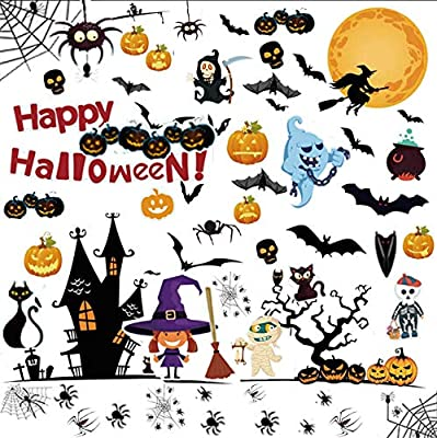 170PCS Halloween Window Clings Decals Decorations - 10 Sheets Pumpkin Spider Bat Ghost Witch Window Stickers Glass Decals for Halloween Party Windows Glass Walls Decorations