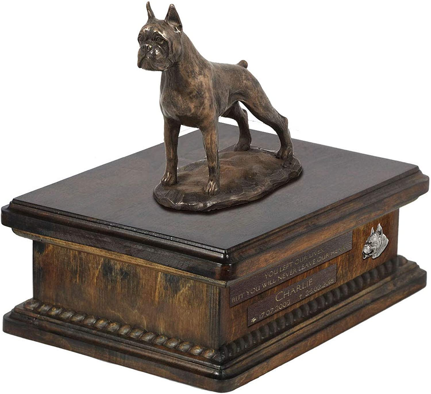Boxer cropped, Urn for Dog Ashes Memorial with Statue, Pet's Name and Quote  ArtDog Personalized