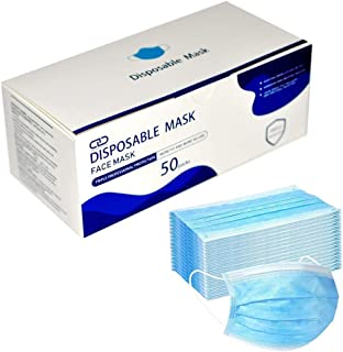 California Wellness Disposable Face Mask -(Pack of 50) Thick 3-Layer Breathable Face Mask with Adjustable Nose Clip and Ea...