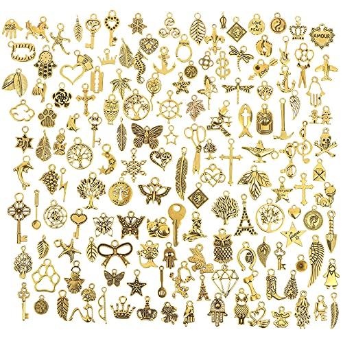 Kudiro Juego de 100 colgantes de oro envejecido mezclados de plata tibetana suave, ideales para collares de bricolaje, pulseras y manualidades