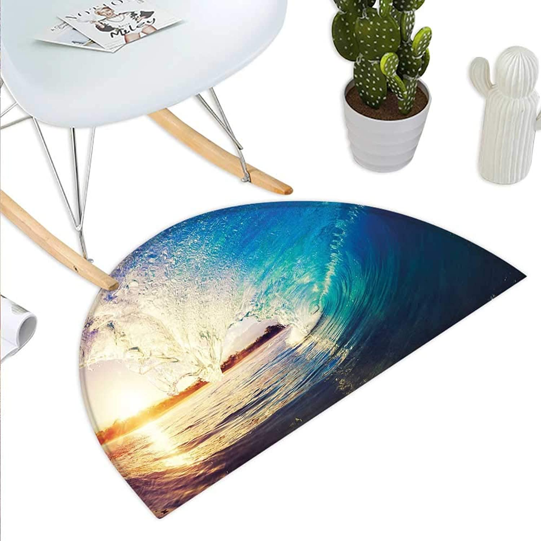 Ocean Semicircle Doormat Sunrise on Waves Surfer Perspective Surreal Coastal Charm Sports Lifestyle Scene Halfmoon doormats H 43.3  xD 64.9  bluee Pale Mauve