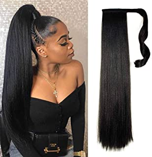 Yepei Puff Straight Long Clip in Ponytail Hair Extensions Wrap Around Synthetic Pony Tail Hairpieces Heat-Resisting Fiber Wave Ponytail Extensions for Women 26