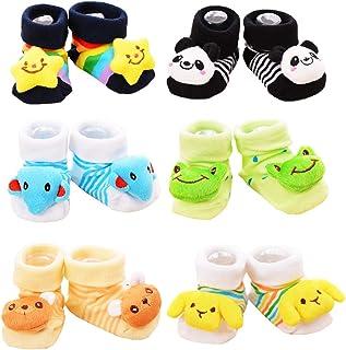 Z-Chen Pack de 6 Pares Calcetines Antideslizantes para Bebé, Set A, 9-18 Meses