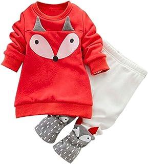Hirolan_Bekleidung Hirolan Kleinkind Sweatshirt Outfits Baby Junge Mädchen Fuchs Drucken Lange Ärmel Plus Kaschmir Lange Hülse Top  Hosen Set Kleider