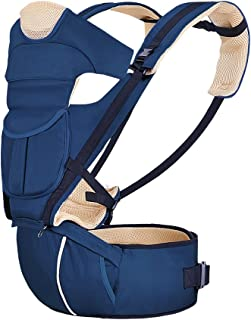 Baby Carrier with Ergonomic Hip Seat Soft Backpack Breathable 8 in 1 Adjustable Waistband for All Season Alone Nursing from Newborn Infant to Toddler or Traveling (Navy Blue)