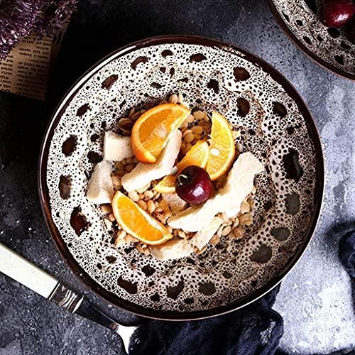 Juego de tazón de Cereales Sopa Ramen Fideos Cuenco Fruta Ensalada Pasta sirviendo tazón mezclando Cuenco Creativo Retro cerámico vajilla Horno microondas Seguro 7 Pulgadas Cuencos de Pasta