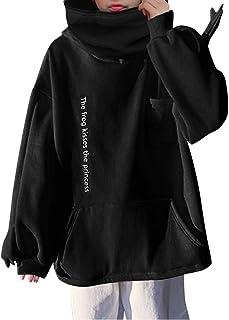 Mujeres Wrap Head Sudaderas Sueltas Color sólido pulóver Sudadera otoño Invierno para Mujer Bolsillo Chaqueta de Costura T...