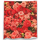 Loong Design Rose Throw Blanket Soft Fluffy Premium Sherpa Fleece Blanket 50'' x 60'' Fit for Sofa Bed Chair Office Travelling Camping Gift