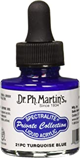 Dr. Ph. Martin's SPEC10OZS21PC Spectralite Private Collection Liquid Acrylics (21PC) Arcylic Paint Bottle, 1.0 oz, Turquoi...