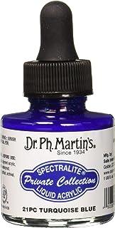 زجاجة طلاء أرسيليك من مجموعة سبيتراليتيه الخاصة من دكتور Ph. Martin's SPEC10OZS21PC ، 1. 0 أونصة، أزرق فيروزي