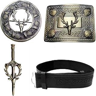 Celtic Knot Embossed Black Leather Kilt Belt with Buckle Pin & Brooch Stag Head Design Badge Set