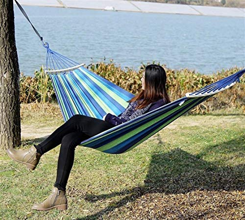 2 personen Multicolor Outdoor Canvas camping hangmat Bend houten stok gestage Hamak Garden Swing hangstoel (Color : 02)
