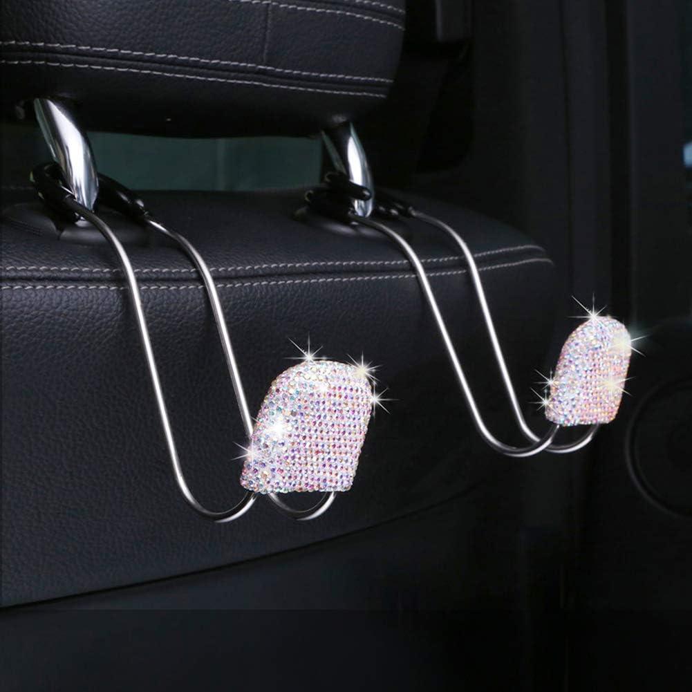 2Pcs Bling Car Headrest Hooks,Auto Backseat Metal Hanger Holder,Automotive Seat Back Organizer Storage for Purse,Handbag,Clothes,Umbrellas,Grocery Bags,Cute Car Accessories Interior for Women Pink