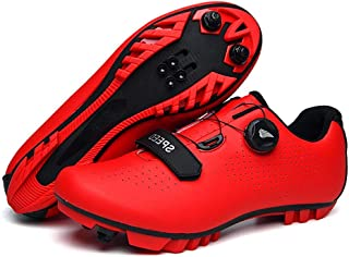 OneChange Mountain Bike Shoes, Mens Breathable Anti-Skid Cycling Shoes Lock System Bicycle Spinning Shoes for Road Riding (Color : Red, Size : 7 UK)