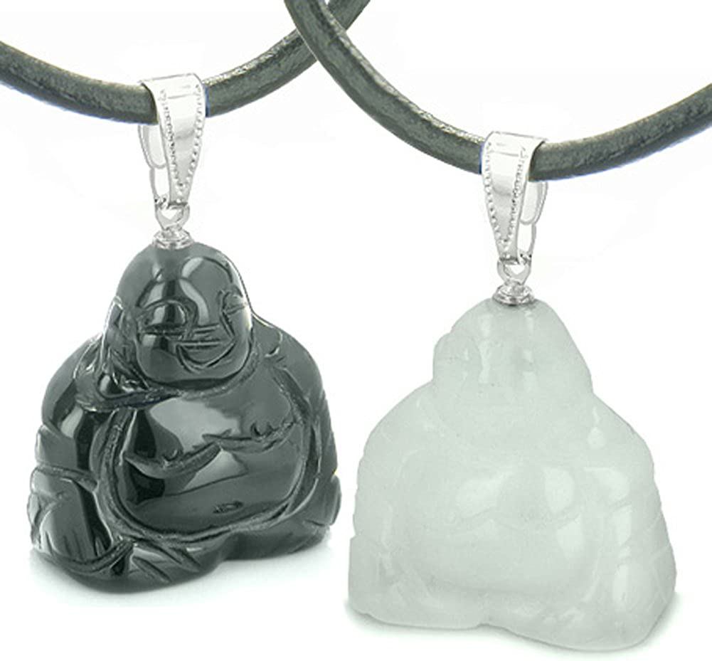 Happy Buddhas Best Friends Amulets White Energy Quar Black Beauty products Cash special price Agate
