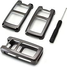 iJDMTOY (1) Premium Gun Metal Grey Alloy Metal Key Fob Cover Case For Honda Accord Civic Crosstour HRV FIT Odyssey Ridgeline, etc