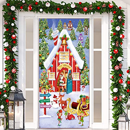 Christmas Fabric Wall Sign Snowy Winter House Backdrop North Pole Wall Scene Backdrop Christmas Photo Booth Banner for Santa Village Christmas Winter Holiday Wall Door Decoration, 6 x 3 Feet