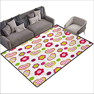 Door Rug for Internal Anti-Slip Rug Kids Patchwork Inspired Design Colorful Patterned Flowers Hearts and Dots Retro Girlish All Season General W78 xL118 Multicolor