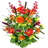Admired By Nature Artificial Dahlia, Morning Glory & Ranunculus & Blossom Fillers Mixed Bush for Home, Wedding, Restaurant & Office Decoration Arrangement, Velvet/Orange/Yellow/Kiwi, 30 Stems