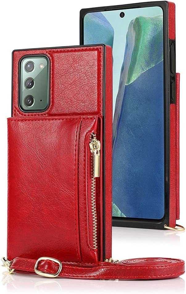 Sccdjyxl Cover Case for Samsung Galaxy Note 20, Zipper Wallet Case with Credit Card Holder/Crossbody Long Lanyard, Shockproof Leather TPU Case Cover for Samsung Galaxy Note 20 (Color : Red)