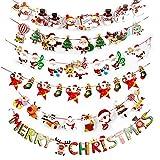 SERWOO 6pcs Guirnaldas Navidad Banderas Banderines Buntings Banner Colgantes Decorativas Decoración Feliz Navidad Merry Christmas Muñeco de Nieve Papá Noel Arbol de Navidad