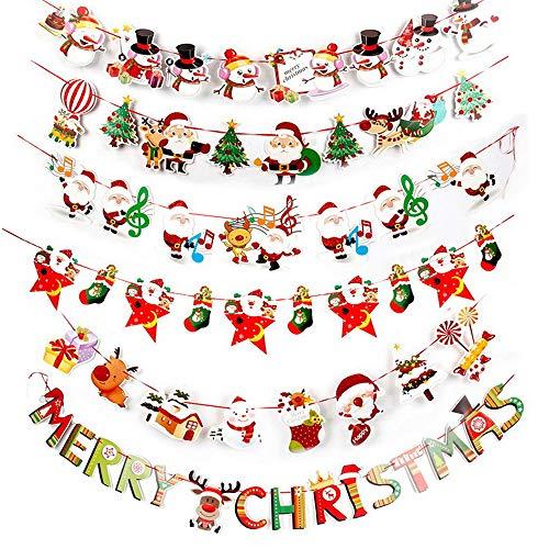 SERWOO 2.7m * 6pz Bandierine Natale Ghirlanda Bandiera Striscione Accessori Decorazioni Natalizie Casa Negozio Feste Merry Christmas Pupazzo di Neve Babbo Natale