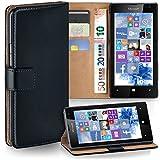 MoEx® Booklet mit Flip Funktion [360 Grad Voll-Schutz] für Microsoft Lumia 532 | Geldfach & Kartenfach + Stand-Funktion & Magnet-Verschluss, Schwarz
