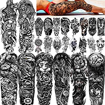 FANRUI 24 Sheets Cool Super Large Full Arm Temporary Tattoo Sleeve For Men with 8 Sheets Full Sleeve Temporary Tattoos For Women Thigh 16 Sheets Large Flower Eagle Compass Adults Tribal Tiger Tatoo