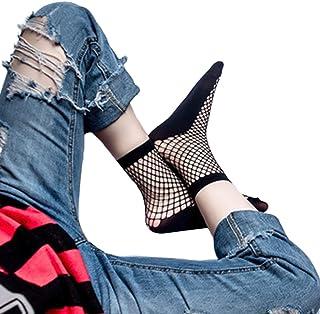 GUMEI, GUMEI 2 Pares Harajuku Mujeres Negro Rejilla Calcetines Cortos elásticos Tobillo Malla Red calcetería
