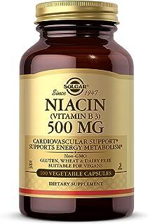 Solgar Niacin (Vitamin B3) 500 mg, 100 Vegetable Capsules - Cardiovascular Support - Energy Metabolism - Non-GMO, Vegan, G...