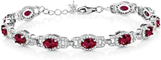 925 Sterling Silver Red Created Ruby Women's Tennis Bracelet (11.08 Cttw Oval 7 Inch With 1 Inch Extender)