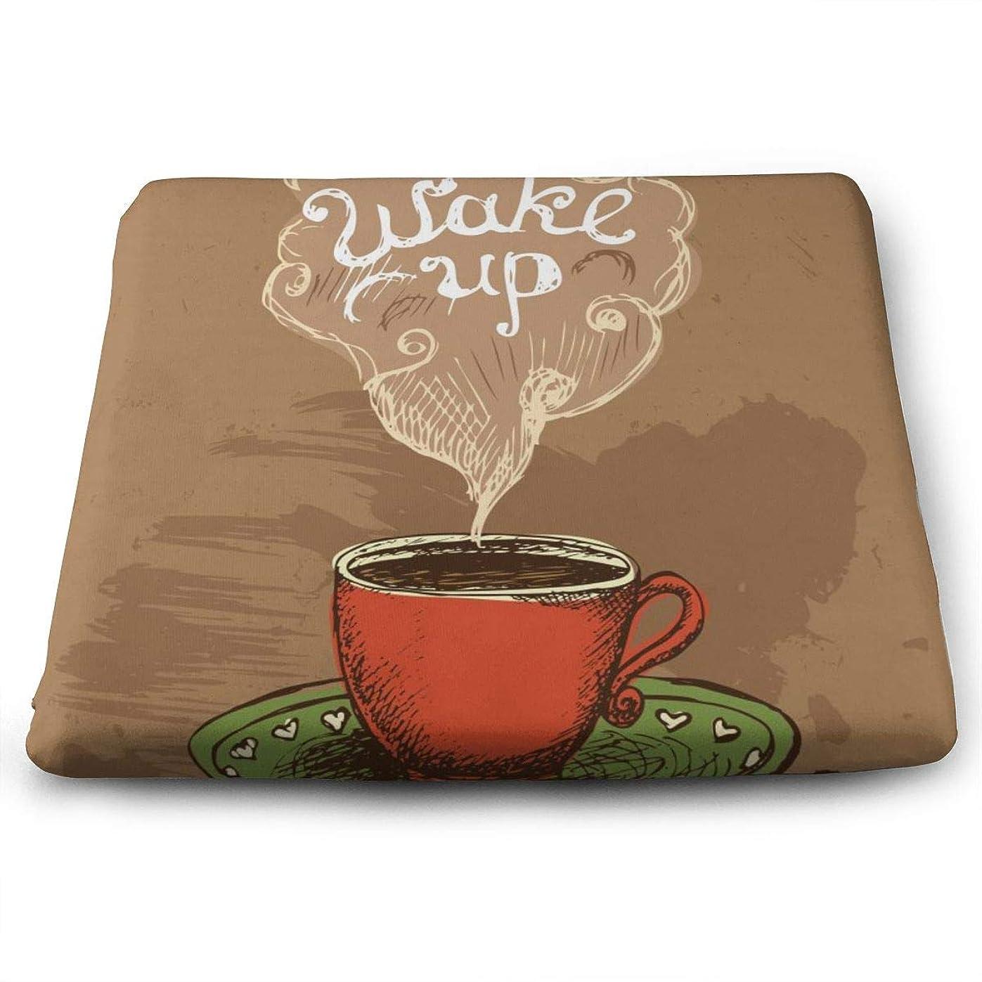 聡明豊富な持続的QWEDER 低反発座布団クッション スクエアタイプ/ベロアタイプWake Up Coffee Cup 【体圧分散効果/優しい座り心地/ノンスリップ加工】座布団