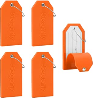 Luggage Tags, 5 PCS Set Segarty Baggage Suitcase Tag with Full Back Privacy Cover for Personal Information & Steel Loops, Orange (Orange) - 550121_03
