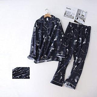 Otoño E Invierno,Traje De Pijama De Algodón Cepillado Suave Informal para Hombre,Pijama De Manga Larga,Servicio A Domicilio,Estampado Azul