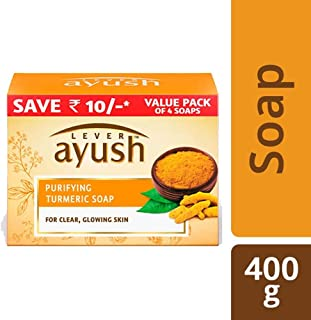 Lever Ayush Purifying Turmeric Soap, 100g (Pack of 4)