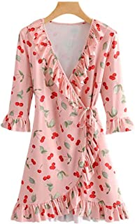 Women Cross V Neck Cherry Print Ruffled Wrap Dress A Line Three Quarter Sleeve Stretchy Dresses Qb634