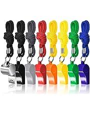 FineGood 8-pack coaches domare visselpipor med snodd, färgglad plast och rostfritt stål fotbollsvisselpipor för sport livräddare överlevnad akutträning