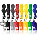 FineGood 8 Packs Coaches Referee Whistles with Lanyards, 7 Colorful Plastic and 1 Stainless Steel Metal Whistles for Football Sports Lifeguards Survival Emergency Training - Multi-Color